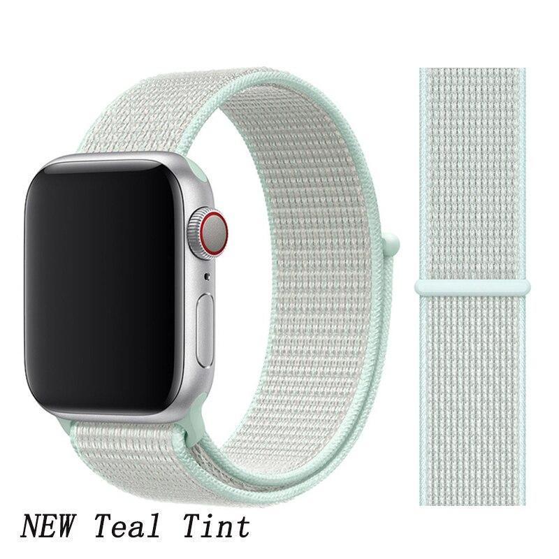Спортивная петля ремешок apple watch band 42 мм 38 мм apple watch 4 3 band iwatch band 44 мм 40 мм correa pulseira 42 44 нейлоновый ремешок для часов - Цвет ремешка: New Teal Tint 6