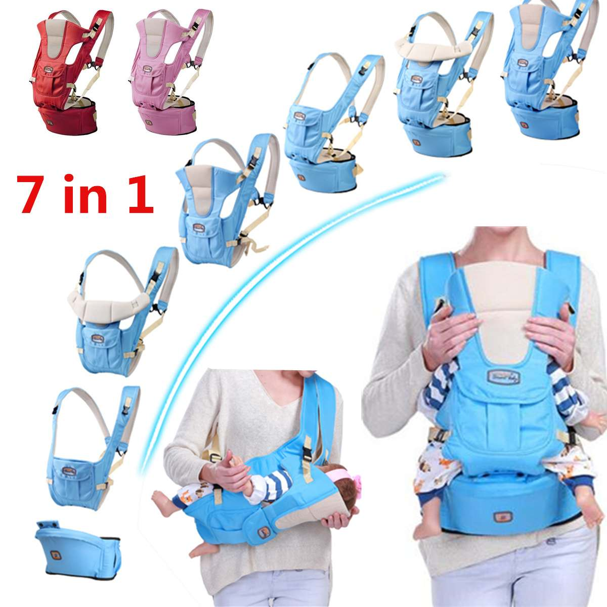 7 In 1 Adjustable Baby Infant Sling Carrier Breathable Ergonomic Wrap Backpack Baby Carriers 0-30 Months Infant Comfortable Wrap
