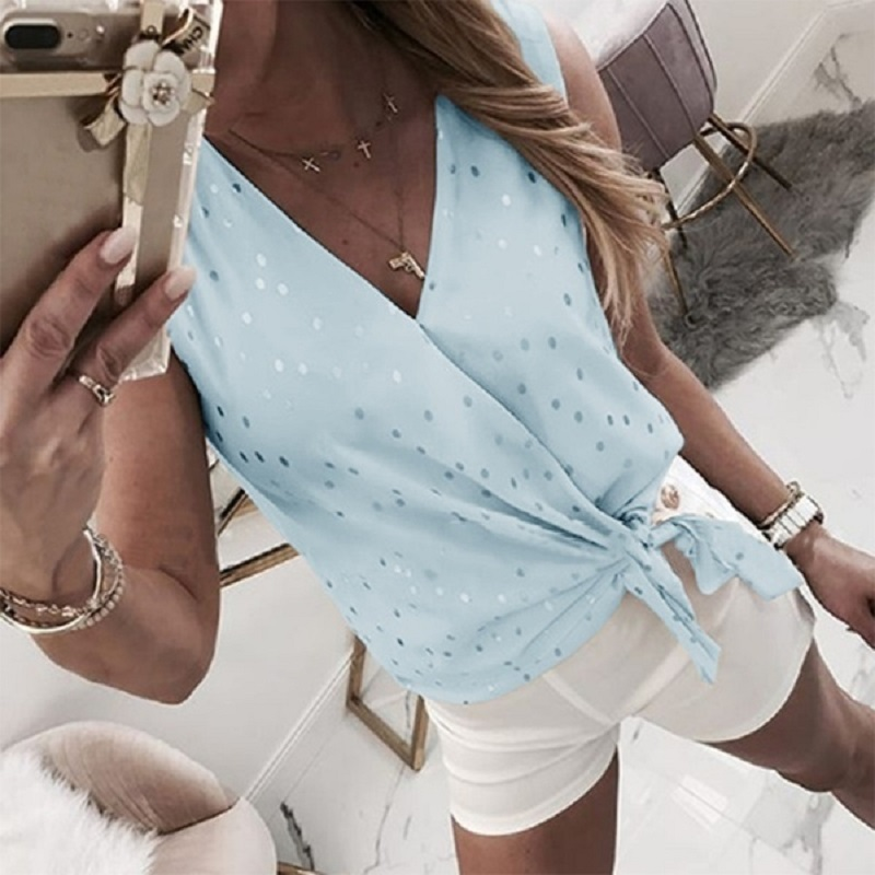 2020 Spring Women Casual Dot Printed Blouse Shirt Elegant Summer Sleeveless Blouse Sexy V-Neck Bowknot Tops Blusa Streetwear 3XL