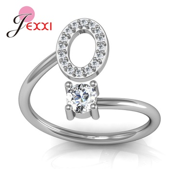 Hot Sale 925 Silver Ring Creative A To Z Initial 26 Letters CZ Crystal Paved Setting Name Jewelry for Women Men Drop Shipping 1