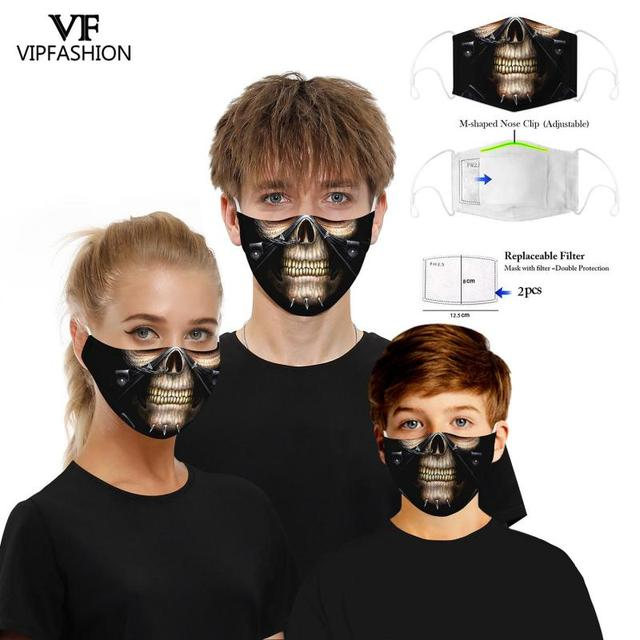 VIP FASHION New Funny Adult Kids 3D Printed Face Masks Cotton Anti-Dust Mouth Mask Clothing Accessories For Party 2