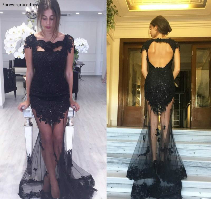 2019 Sexy See Through Mermaid Evening Dress Black Backless Formal Holidays Wear Graduation Party Pageant Gown Custom Made