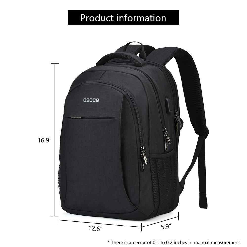 OSOCE Laptop Tasche Rucksack 15,6 Zoll mit USB Lade Port Kopfhörer Jack Wasserdichte Business Zurück Packs Taschen