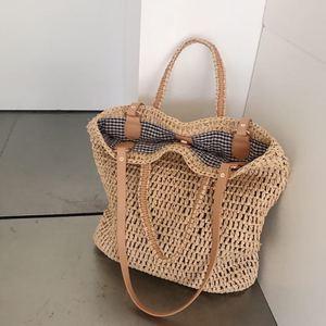 Image 5 - 직조 중공 종이 밀짚 가방 어깨 가방 여성 비치 가방, 소녀 패션 여행 가방 여성 캐주얼 토트
