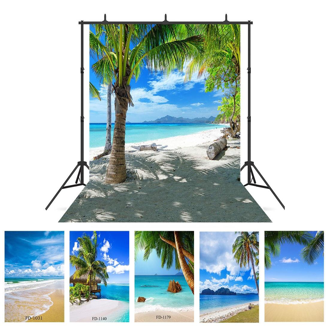 Фон для фотосъемки с изображением морского побережья пляжа пальмы реквизит для фотосъемки Свадебный детский виниловый тканевый фон для фо...