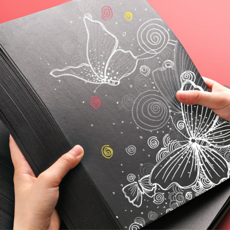 A4 Black White Kraft Paper DIY Handmake Card Making Blank Craft Paper Thick Paperboard Cardboard 80-250gsm Hand Drawing Graffiti