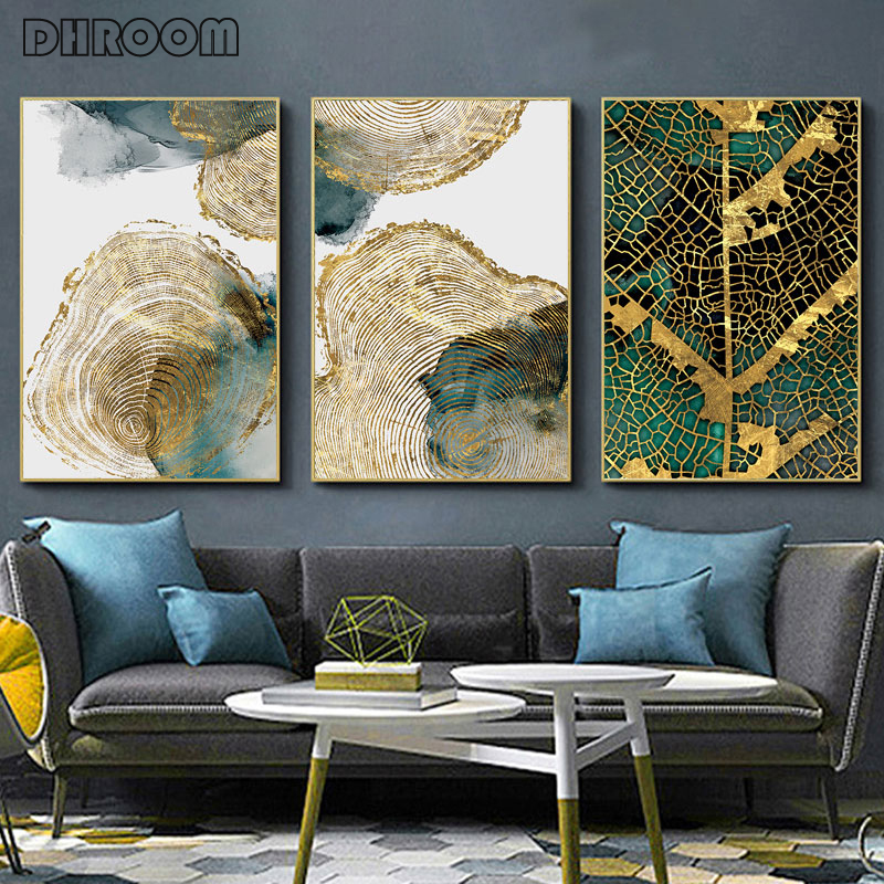 Abstract Golden Leaf Vein Canvas Painting Wood Texture Poster Print Modern Wall Art For Living Room Cuadros Salon Decoracion