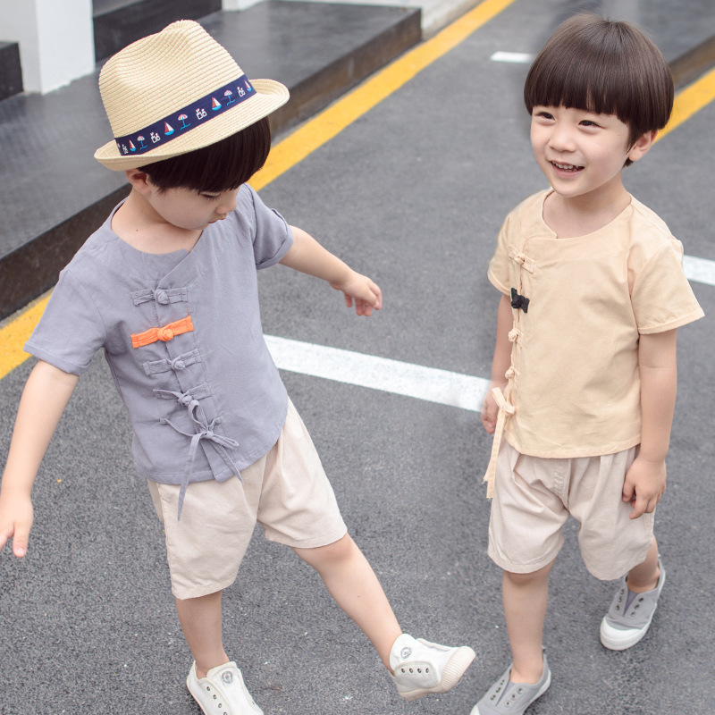 The new summer 2019 children suit in national cotton two-piece wind restoring ancient ways