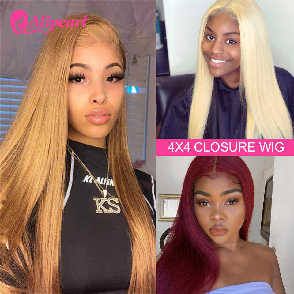 #27 Straight 4x4 Lace Closure Human Hair Wigs For Black Women Brazilian #99J 4x4 Closure Wigs Pre Plucked 613 Blonde Closure Wig