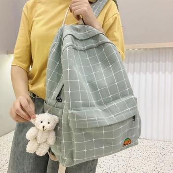Dcimor mochila de lona femenina de grande capacidad de bordado de lona...
