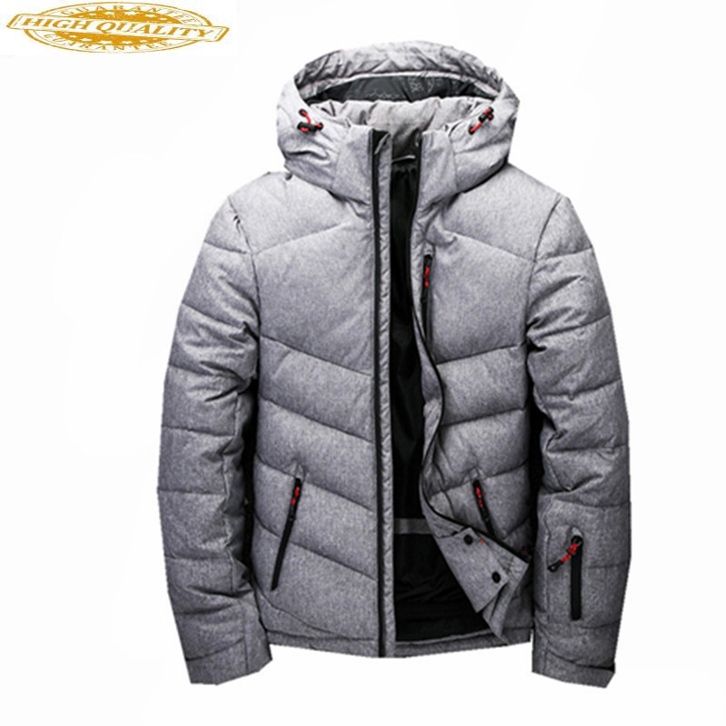 High Quality Men's White Duck Down Jacket Hooded Winter Coat Warm Men Parka Padded Mens Jackets Casacos Masculino WXF372