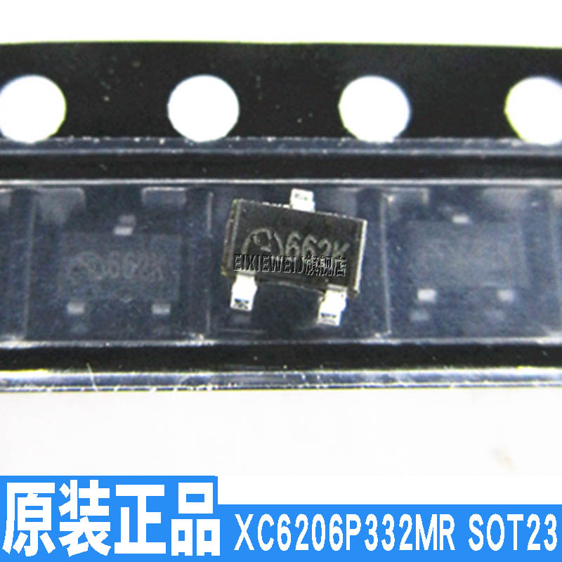 10PCS/LOT SOT-23 XC6206P332MR (<font><b>662K</b></font>) 3.3V 300MA new original in stock image