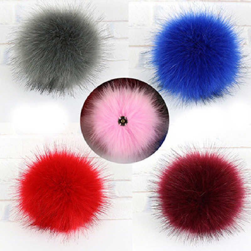 Faux Fox Fur Soft Pompom DIY Colorful Dark Buckle Pompons Female Caps Shoes Accessories Handmade Sewing Craft Supplies