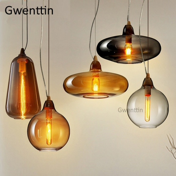 Modern Cafe Pendant Light Glass Nordic Loft Industrial Decor Wood Hanging Lamp Dining Room KitchenLighting Fixtures Luminaire