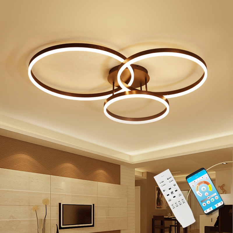 Modern LED Ceiling Lights For Living Room Kitchen Fixtures With Remote Indoor Home Dining Lamps Rings