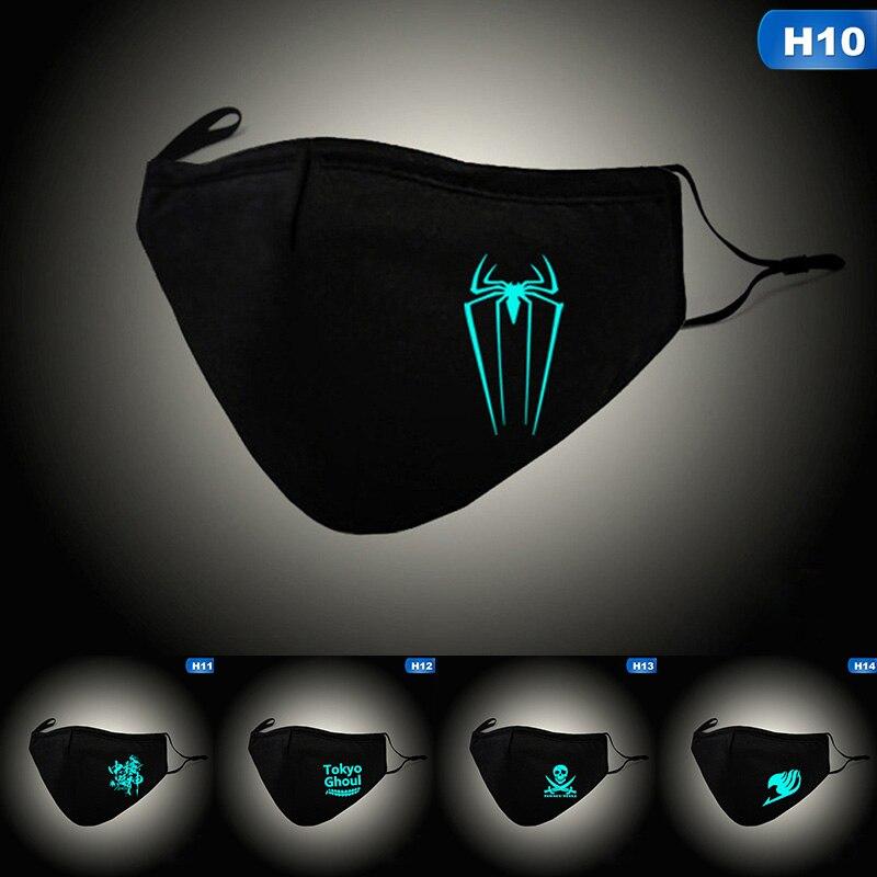 Men Women Breathable Mouth Mask Mouth-muffle Cotton Face Masks Anti PM2.5 Dust Masks Luminous