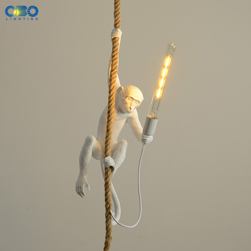 Resin Monkey Pendant Lamp Black/White Modern E27 LED Bar/Bedside/Living Room Indoor Lighting Twine Cable Vintage Pendant Lights
