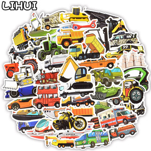 50 PCS Engineering Vehicle Car Sticker Cute Bus Truck Motorcycle Stickers for Kids Toy Travel Trolley Suitcase Laptop Skateboard