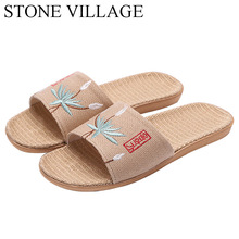 Linen Slippers Stone Village Summer Open-Toe Embroidered Household No Couple Men