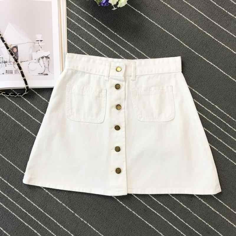 Letnia damska damska linia ołówkowa spódnica jeansowa przód guzik wysokiej talii Denim małe kieszonkowe spódnica czarny biały cztery kolory