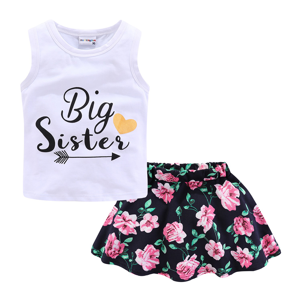 Mudkingdom Girls Clothes Set Love Summer Kids Tank Top and Skirt Outfit Children Cute Suits Fashion Happy Holiday Easter 6