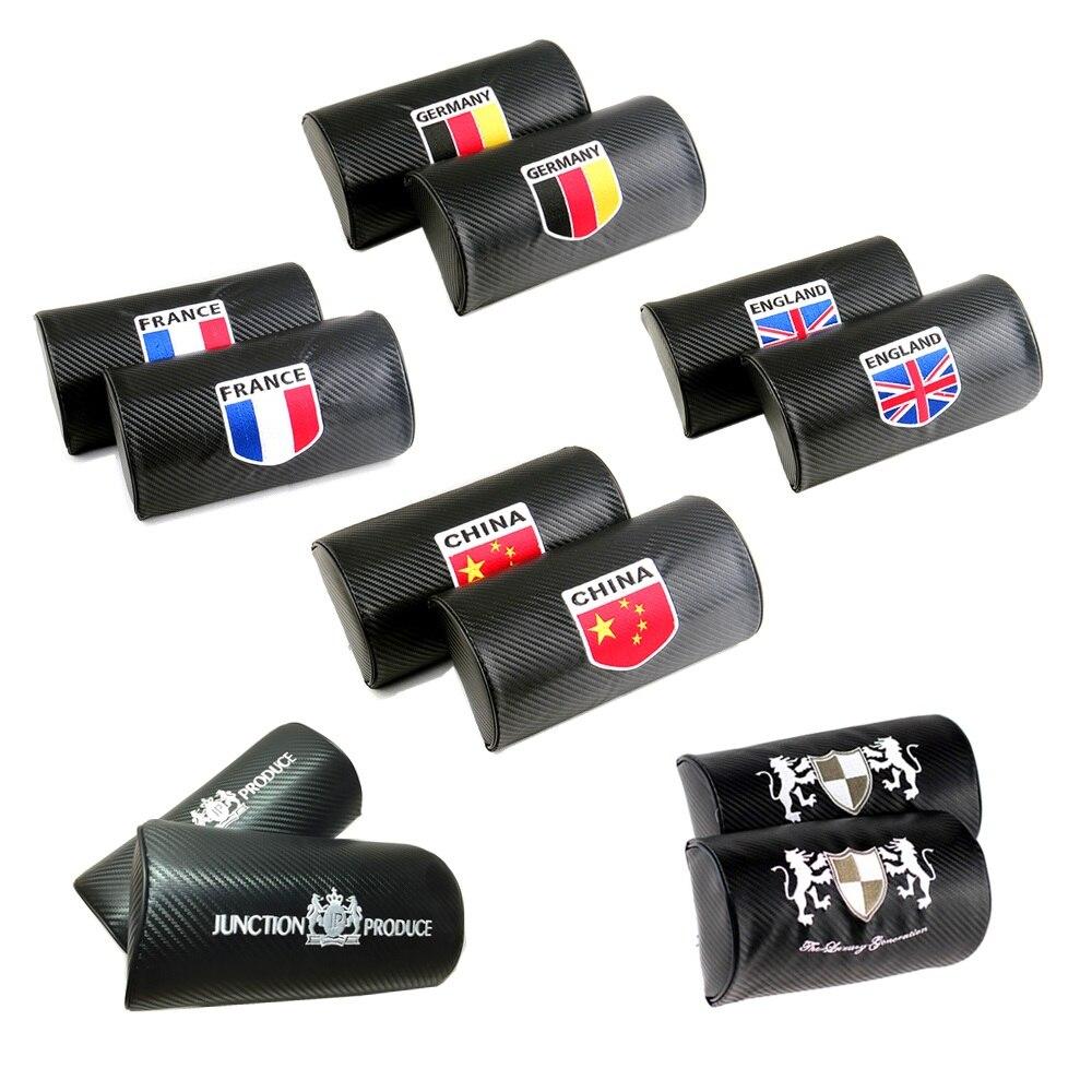 2Pcs Junction Produce Auto Headrest Black Carbon Fiber With Best Embroidery For WRC STI R Car Seat Neck Pillows Cushion