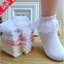 Breathable Cotton Lace Ruffle Princess Mesh Socks Children's Ankle Short Sock White Pink Yellow Baby Girls Kids Toddler(China)