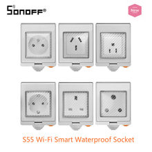 Sonoff S55 wodoodporna inteligentne gniazdo Wifi przełącznik współpracuje z Amazon Alexa asystent Google IFTTT przełącznik Wifi inteligentny dom UK/AU/ usa/ZA(China)