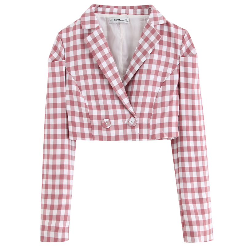 Blazers Women Jackets Suits Short Buttons Long-Sleeve Female Elegant Fashion Ladies High-Waisted