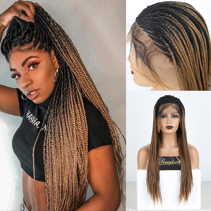 RONGDUOYI Two Tone Braided Box Braids Wigs For Women Long Synthetic Lace Front Wig Ombre Brown Heat Resistant Hair Cosplay Wig