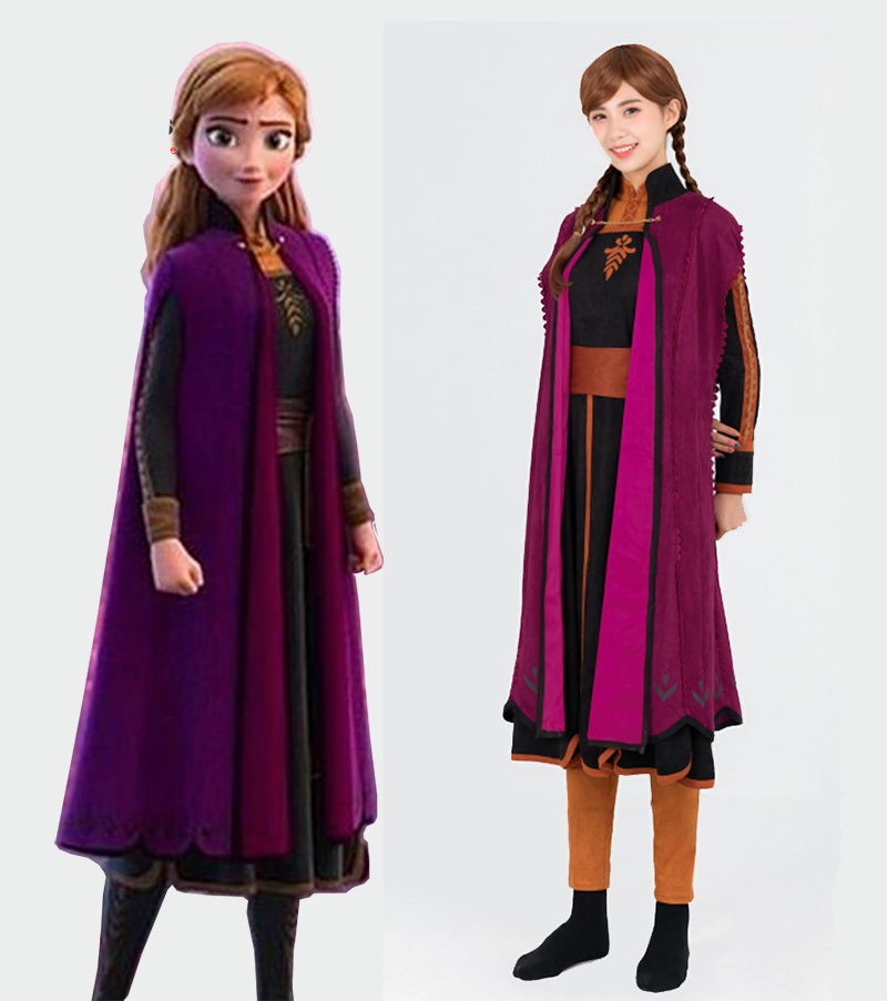 Adult Women Girls Anna Elsa dress Costume Cosplay Party Fancy