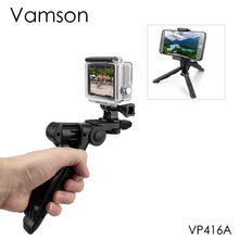 Vamson 삼각대 go pro 액세서리 카메라 모노 포드 폰 브래킷 ripod gopro hero 8 7 6 5 4 xiaomi for yi black vp416