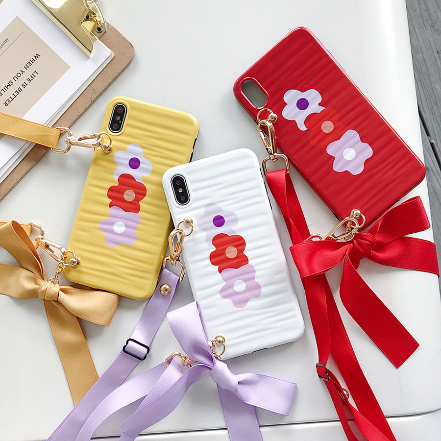 ins flower strap tpu case for iphone 8 7 6 6s plus X XR XS MAX cover floral shoulder lanyard soft silicon phone bag capa