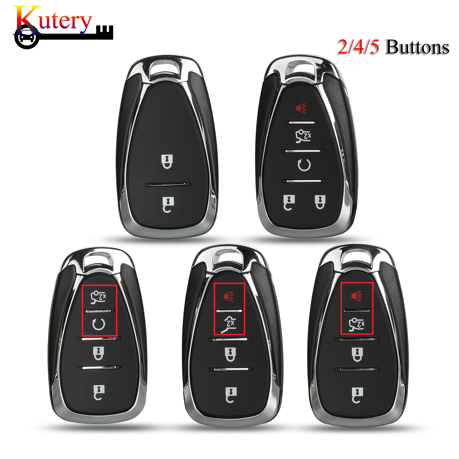 Kutery Remote Smart Key Shell For <font><b>Chevrolet</b></font> Cruze Malibu Camaro <font><b>Spark</b></font> 2016 <font><b>2017</b></font> 2018 Emergency Blade 2/4/5 Buttons image