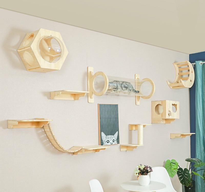 Solid Wood Wall-mounted Cat Litter Cat Tree Integrated Platform Springboard Climbing Ladder
