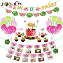 1st Verjaardagsfeestje Decoraties Kids Zomer Watermeloen Party Cake Topper Gors Vlag Decor Roze Baby Shower Feestartikelen(China)