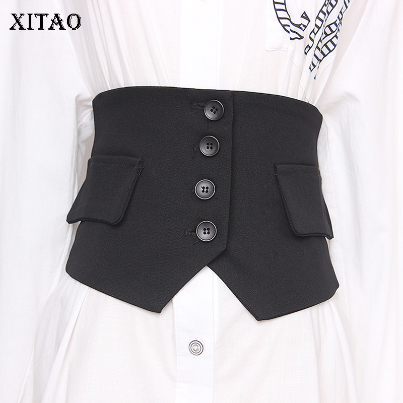 XITAO Black Women Cummerbunds Fashion 2019 Winter Elastic Sheath Small Fresh Minority Casual Goddess Fan Cummerbunds GCC2831