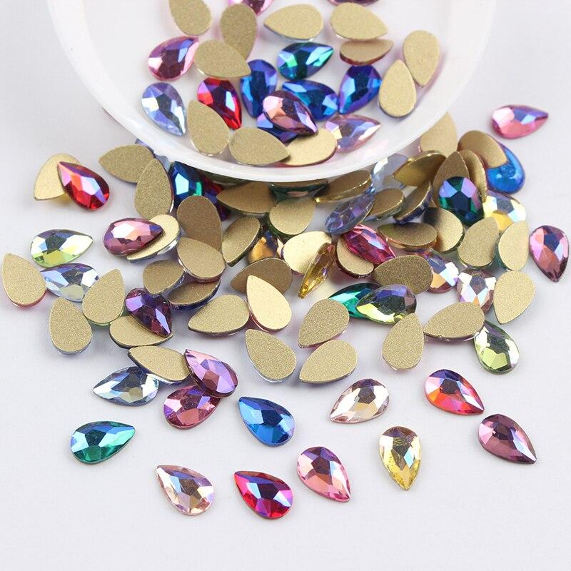 Все смешанные цвета, 30 шт, стразы для дизайна ногтей, сделай сам, без горячей фиксации, стеклянные камни для ногтей, драгоценные камни для 3D украшения для ногтей - Цвет: 5x8mm Drop AB