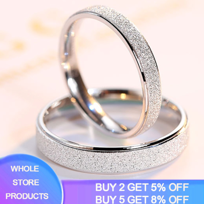 YANHUI New Fashion Style 925 Sterling Silver Couple Rings For Women Men Lovers Frosted Anniversary Wedding Rings Fine Jewelry