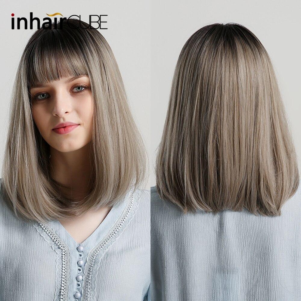 Inhaircube syntetyczne peruki z grzywką długie proste Ombre szary dla kobiet sztuczne włosy naturalną linią włosów 14 cali darmowa wysyłka
