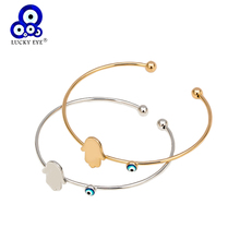 Lucky Eye Hamsa Hand Turkish Evil Eye Bangle Bracelet Gold Silver Color Bangle Fashion Jewelry for Women Men Jewelry EY6762