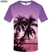 KYKU coconut tree shirt Men Printed Tshirt Funny T shirts 3d Purple Hip hop T-shirt Harajuku Mens Clothing Short Sleeve