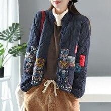 Outono inverno artes estilo feminino manga longa vintage curto casaco retalhos algodão linho único breasted engrossar jaquetas s407