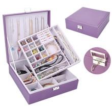 Korea Style Jewelry Boxes Wood Frame Structure Jewelry Box High grade Leather Jewelry Race Jewelry Holder Fashion Jewel case