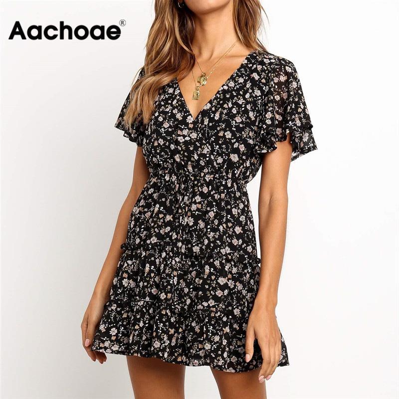 Aachoae 2020 Women Summer Dress Boho Style Floral Print Beach Dress Ruffles Elegant Party Dress Short Sleeve Sundress Vestiods