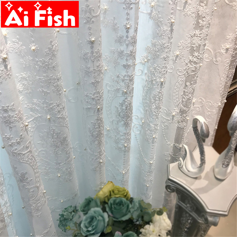 White Elegant Lxury Curtains Tulle Contain Pearls Embroidery Beads  Window Drapes Curtain Sheer For Living Room Finished ZH040#5