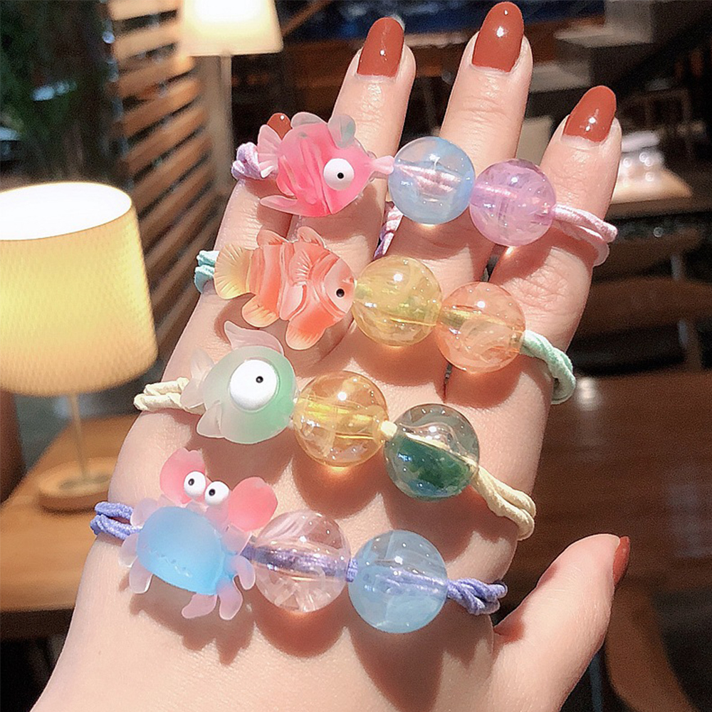 Girls Cute Cartoon Animals Little Goldfish Fish Elastic Hair Bands Scrunchies Ponytail Holder Headbands For Kids Hair Accessorie