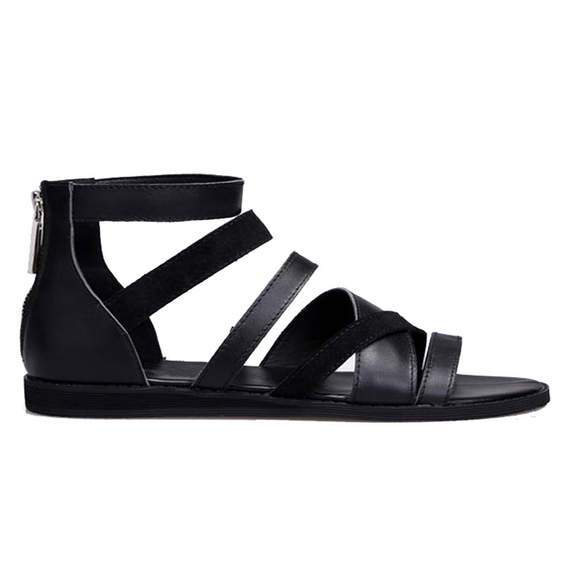 Men Summer Shoes 2020 British High Top 100% Real Leather Casual Breathable Beach Gladiator Sandals Open Toe Sandalias Hombre