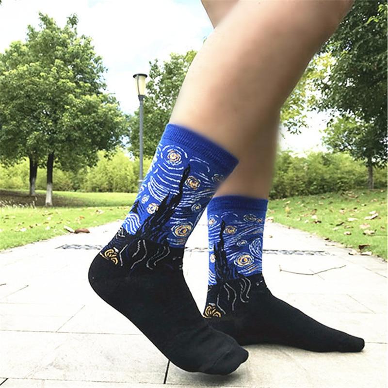 Image 4 - MYORED 5 pair/lot Men's Painting socks cotton Retro Oil Painting socks crew funny sock casual dress colorful wedding gift NO BOX-in Men's Socks from Underwear & Sleepwears
