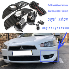 цены Fog Lights For Mitsubishi Lancer Lancer-ex 2008-2013 LED Halogen Front Fog Lamps With Wires Grille Covers fog light foglights